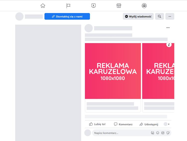 Rozmiar reklamy karuzelowej facebook